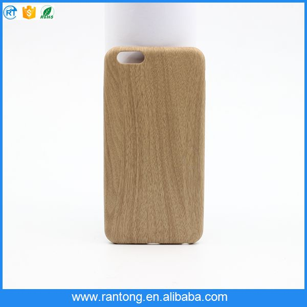 Latest product wood grain soft PU back caver case for iphone 6