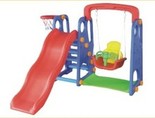 Colorful plastic indoor play kids' plastic slide and swing colorful baby swing