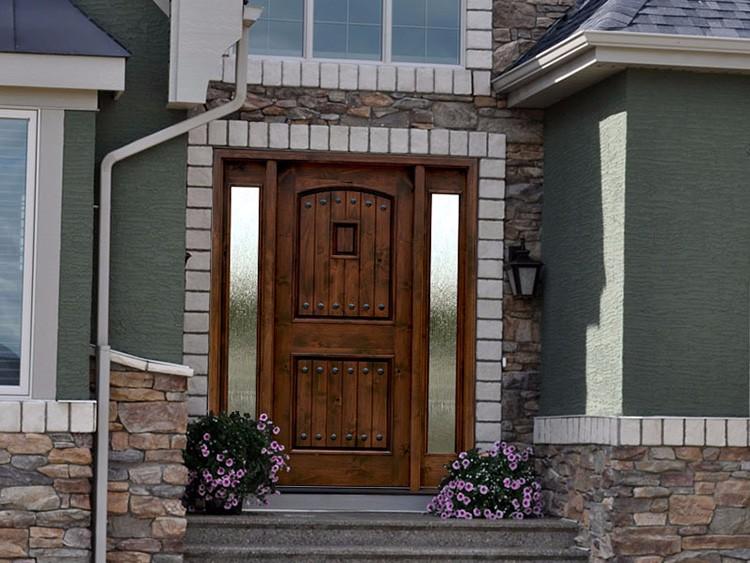 villa de la puerta principal de madera de hierro forjado puerta exterior con ventana y luz