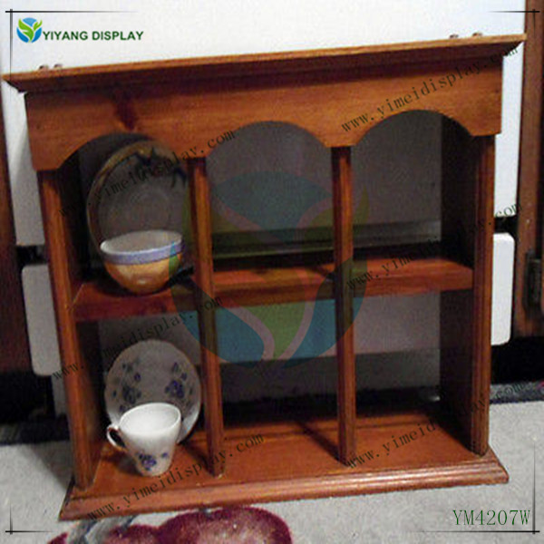 Vintage Antique Wooden Tea Cup Curio Cabinet Plate Saucer Rack Display Shelf YM4207W