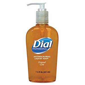 Liquid Gold Antimicrobial Soap, Unscented Liquid, 7.5 oz Pump Bottle, 12/Carton by DIAL (Catalog Category: Office Maintenance, Janitorial & Lunchroom / Bathroom Supplies)