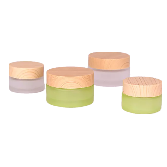 30ml 50ml 100ml Environmental empty bamboo lid glass cream jar / Cosmetic frosted glass container and wooden lids