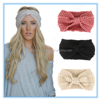 Wholesale girls winter ear warmer knot headband women crochet knitted  headband d44b1ad17e6