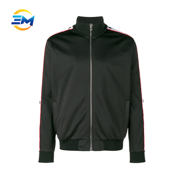 customized design black full zip polyester track jacket with