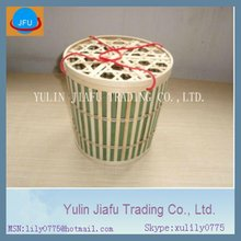 Bamboo laundry basket Hot sale with two red string round top cross bamboo basket