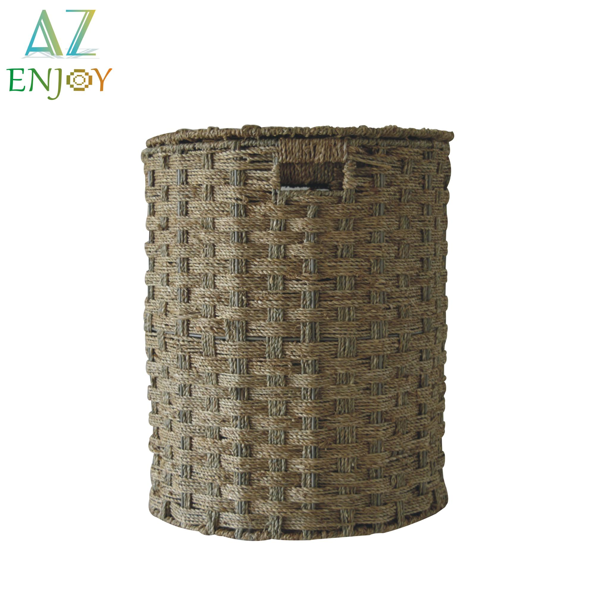 Water Hyacinth Wicker Waste Basket