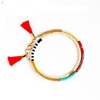 Multicolored Silk Thread Fabric Handmade Jewelry Layered Seed Beads Tassel Bracelet