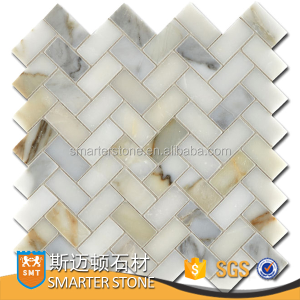 Exterior fancy tile herringbone tile mosaic in calacatta gold