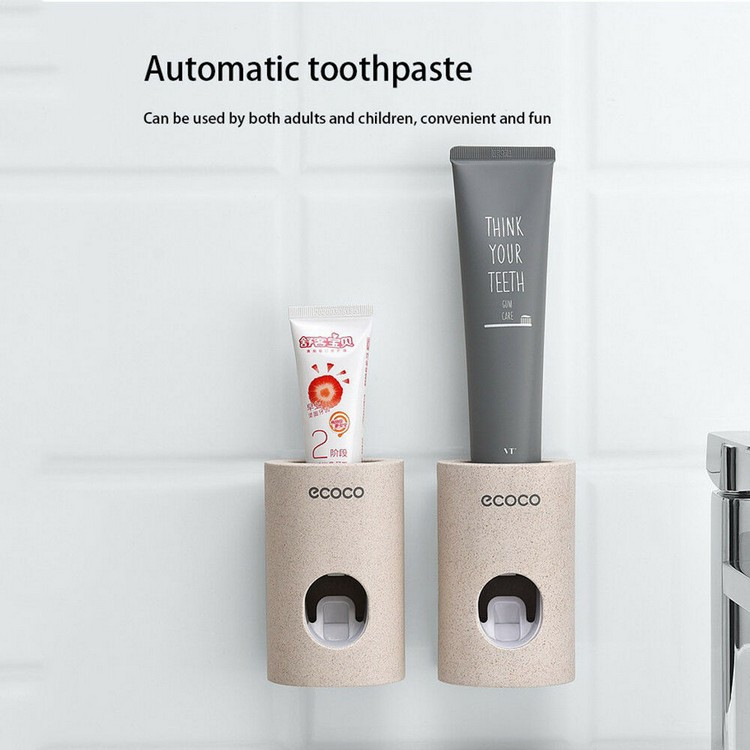 Cheap Wholesale New Design Bathroom Super Sticky Wall Mount Eco Wheat Straw Plastic Automatic Toothpaste Dispenser Tube Squeezer
