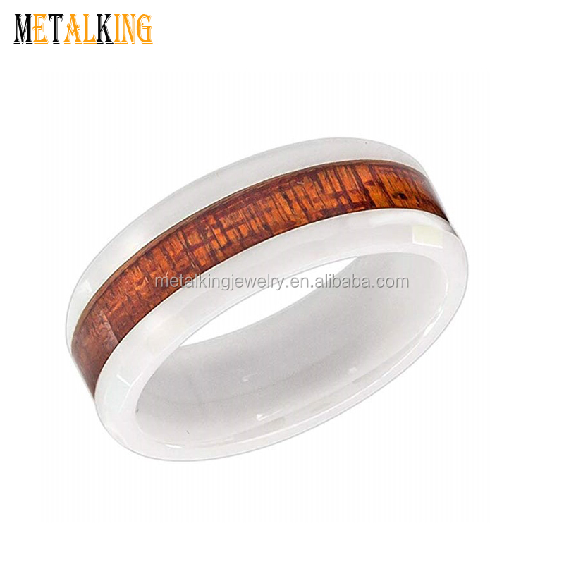 Tungsten Jeweler 8mm White Ceramic with Hawaiian Koa Wood Inlay /& Faceted Edge Wedding Band Ring for Men or Ladies