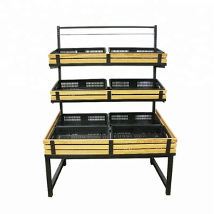 retail shop and supermarket convenient single side fruit and vegetable food display shelf and racks