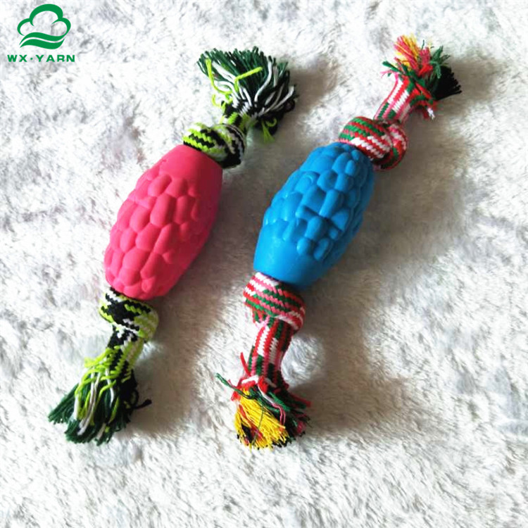 Eco-friendly natural dog toy rubber ball with rope material