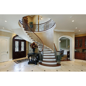 Arc Curved Stairs With Metal Railing And Thick Wood Stair Tread