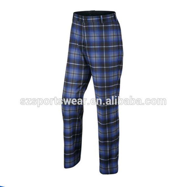 New Sublimation Plaid breathable Heavier style mens golf pants