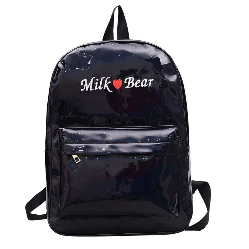 Laser Leather School Bag Backpack Satchel Trave Shoulder Bag for Girl Women (Black)