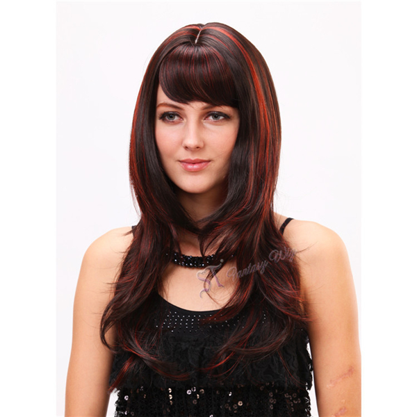 China Wig Supplier Red Highlight Synthetic Multi Layered Haircuts