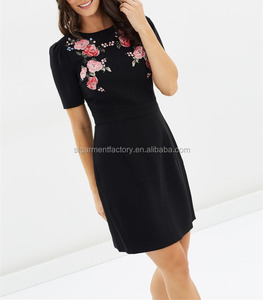 Rose Embroidery Gothic Dress Women Black Summer Fashion Sexy Wild Goth Mini Skirt STb-0393