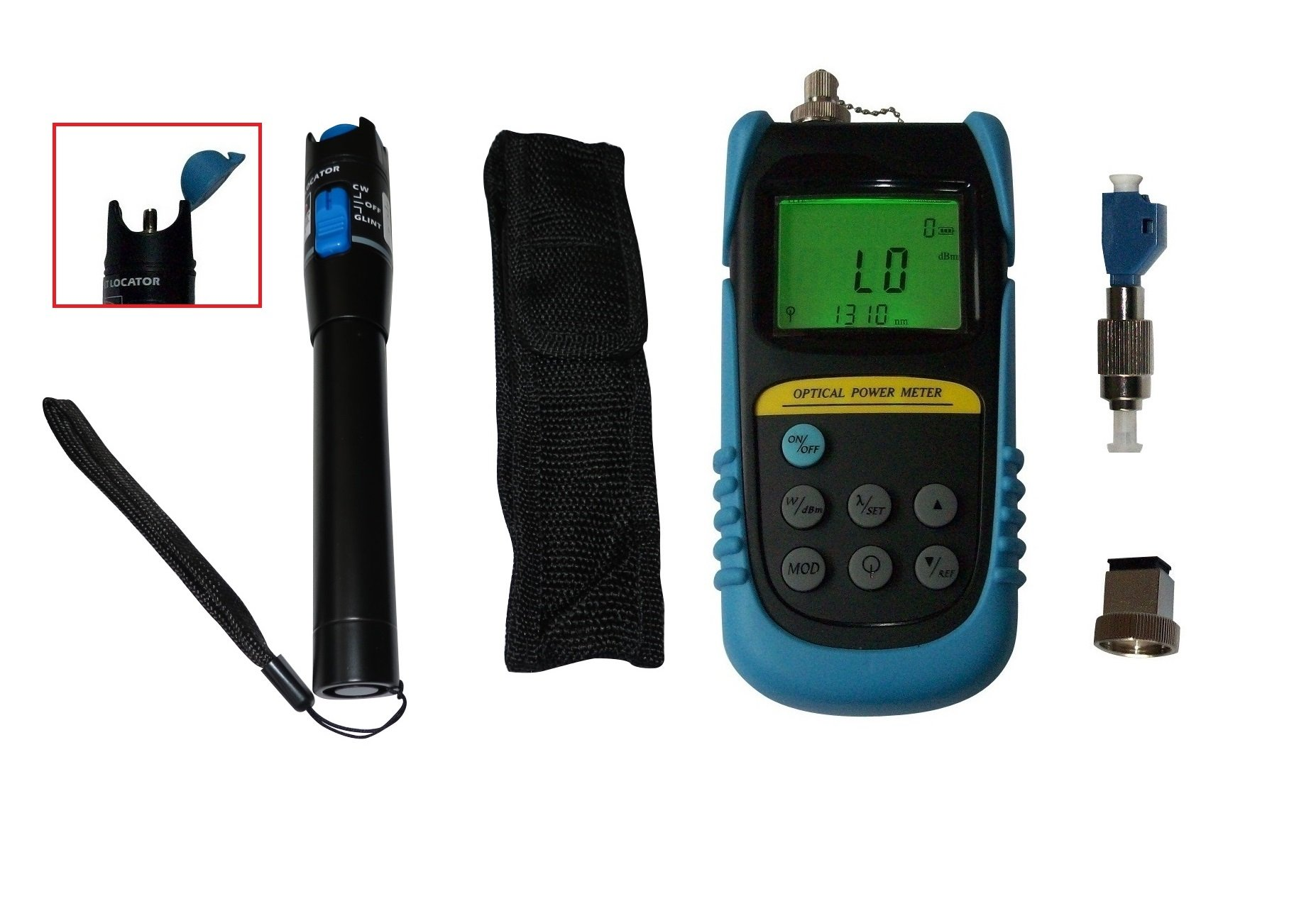 Optical Power Meter +26 to -50dBm W/ 20mW Visual Fault Locator Fiber Optic Cable Tester/ FC Male-LC Female Adapter