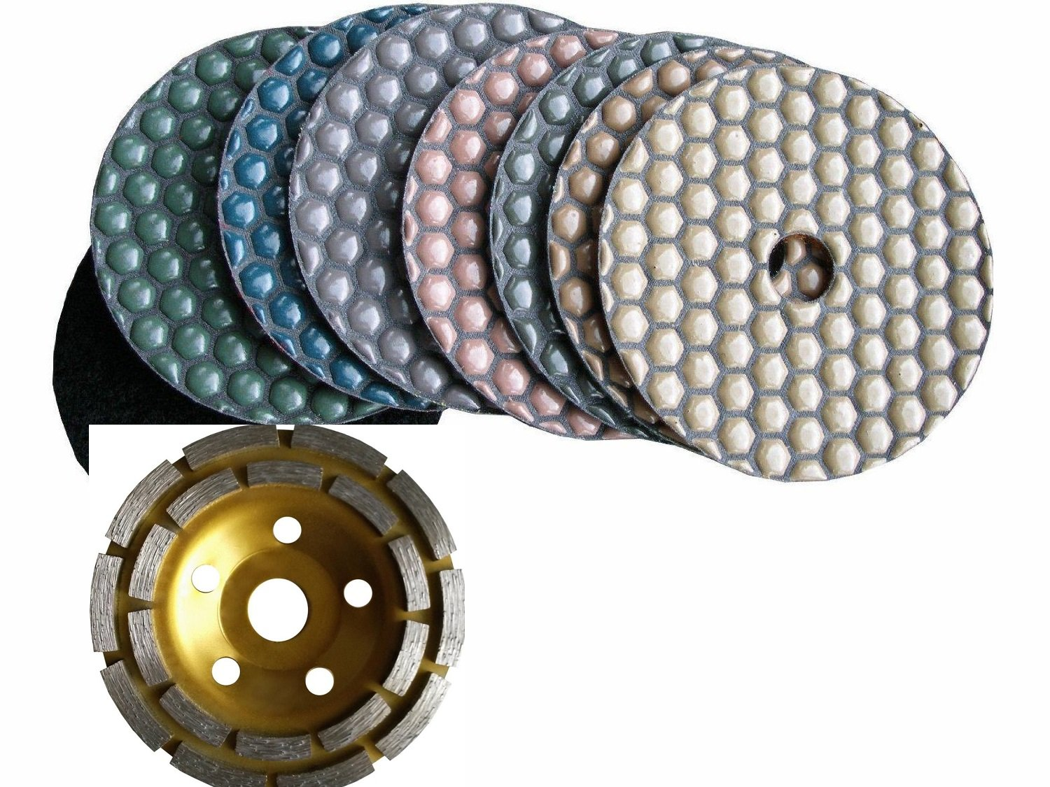 "4"" 100mm Diamond DRY Polishing Pad 7 Pieces and 1 Piece Diamond Coarse Grinding cup wheel Granite Glass Concrete Sander Marble Counter top Free Priority SHIP"