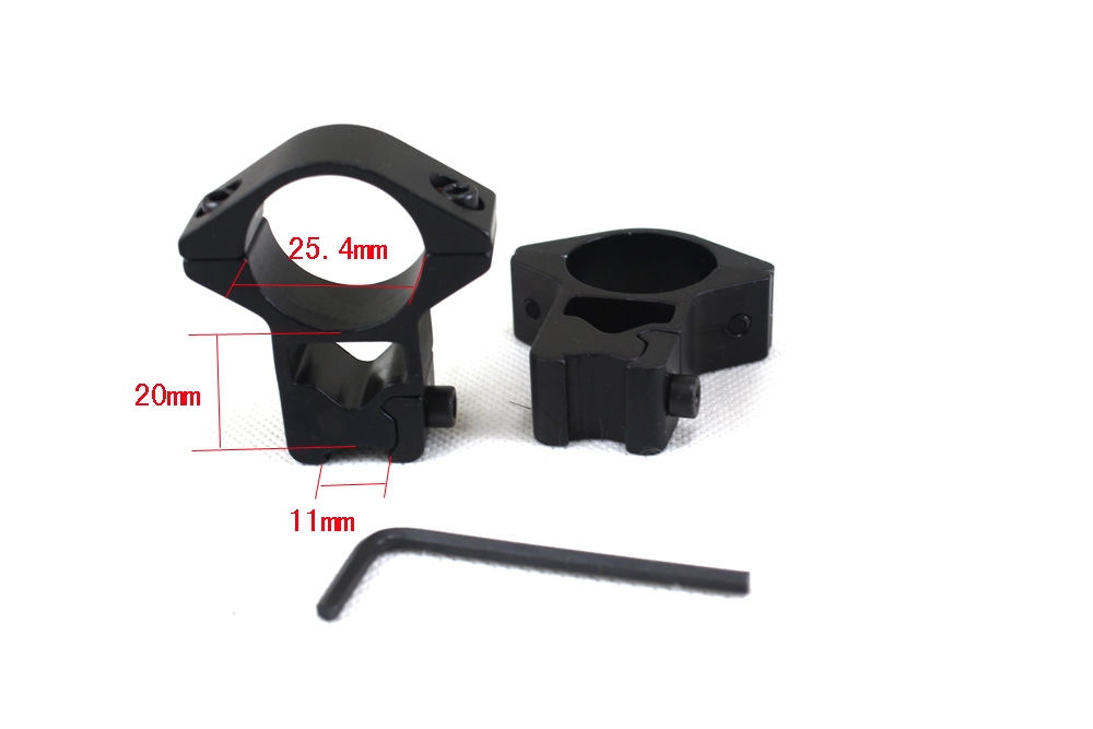 Tactical 11mm Scope Rings Mount For Flashlight Laser Sight Rifle Scope