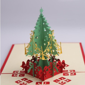 High quality Christmas gifts 3D stereoscopic greeting card Christmas tree birthday wishes handmade greeting cards