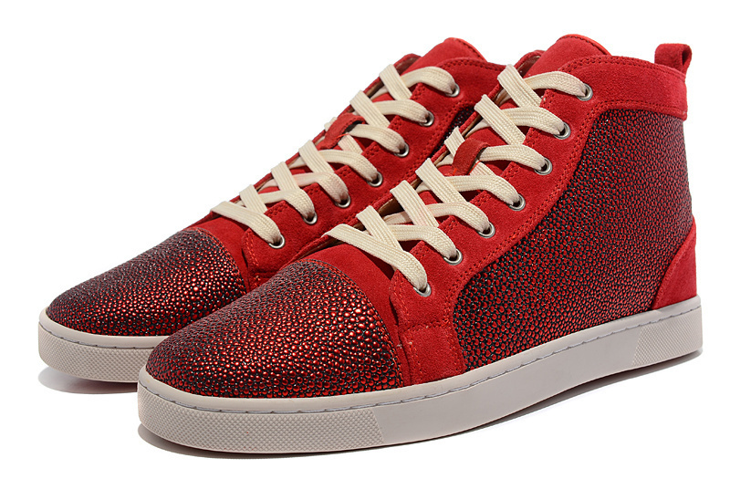 2015 Fashion Brand Women Men Red Bottom Sneakers red Rhinestone suede high top Sneaker for woman man Strass shoes Pearl leather