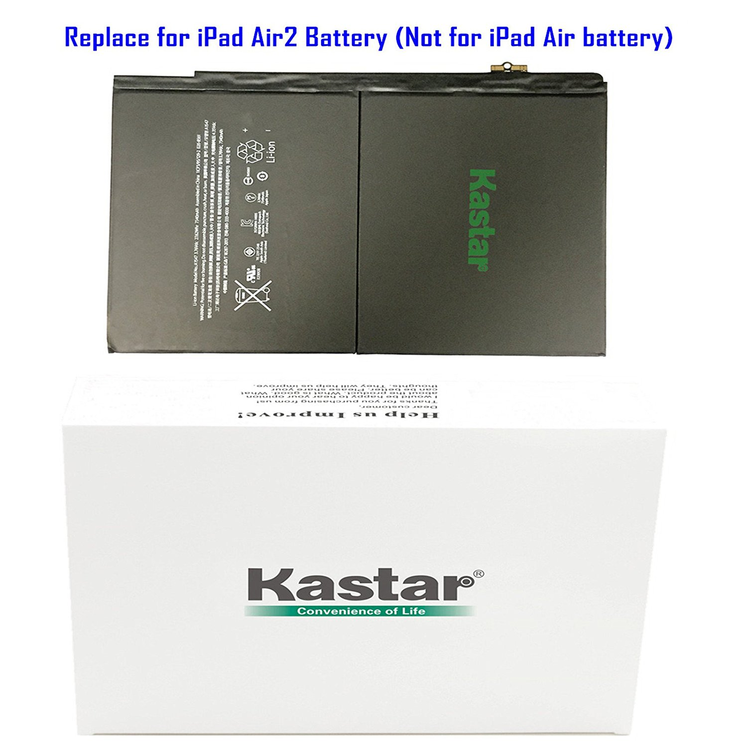 Kastar Battery for Apple iPad Air 2 / iPad 6 (the 6th Generation iPad) Replacement Internal Battery 3.76V 27.62Whr 7340mAh Fixes for iPad A1547