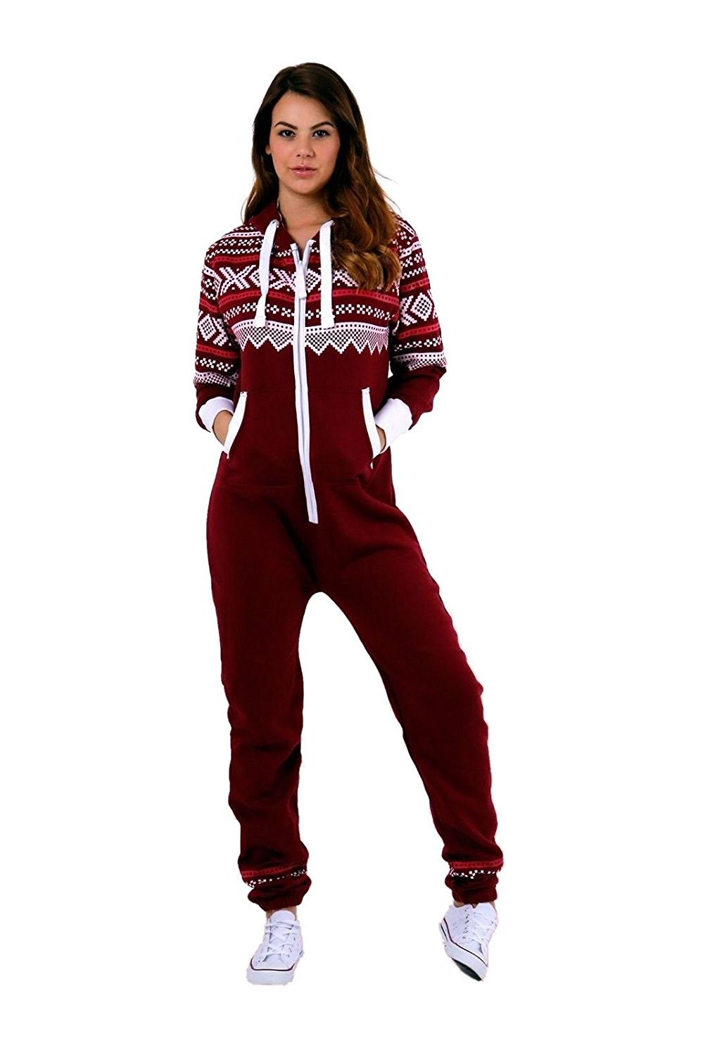 b53248b8f1 Get Quotations · Janisramone New Womens Aztec Print Hooded Fleece All In  One Jumpsuit Zip Up Onesie Playsuit