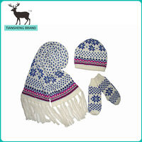 2014 latest design high quality children knitted scarf glove and hat set