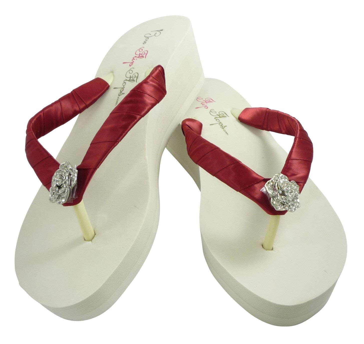 7061a0b2eb3875 Get Quotations · Scarlet Red Rose Flip Flops - Bridal or Bridesmaid Sandals