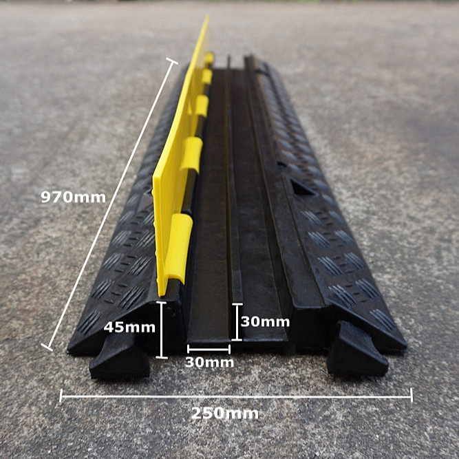 Flexible Yellow Jacket Dual Channel Rubber Cable Ramp Temporary Floor Cable Protector Cover