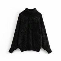 Z31452A Autumn new styles women's fashion solid color high collar lantern sleeves thick sweater