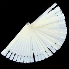 new False White Nail Art Tips Board Sticks Polish Display Fan Practice Tool 50pcs/set