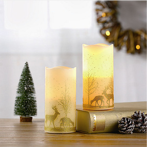 S/3 2018 New Christmas Funny Wax Led Candle Light For Taper Decoration