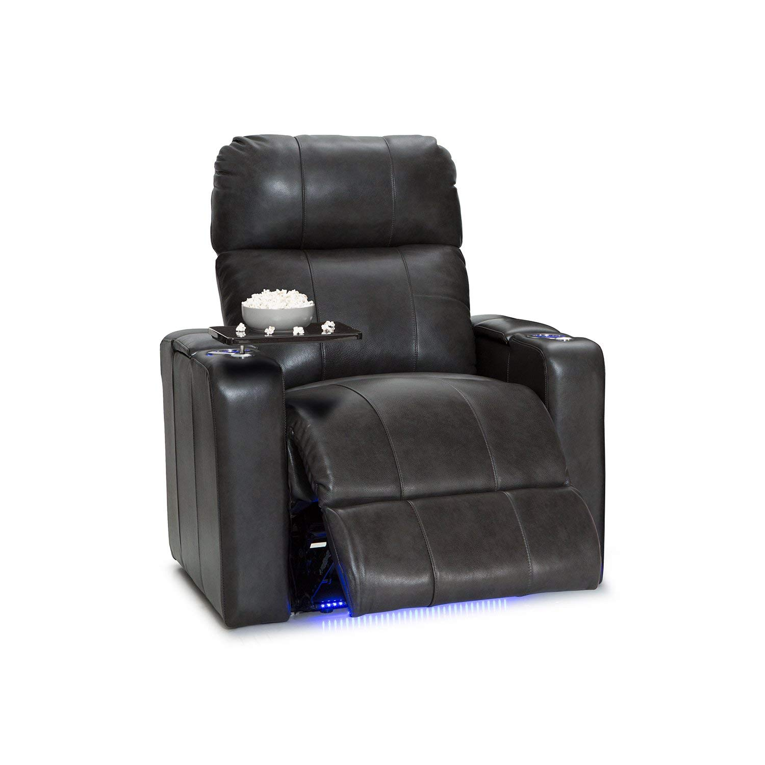 Seatcraft 2208 Monterey Leather Power Recliner with Adjustable Headrest, in-Arm Storage, and USB Charging, Grey