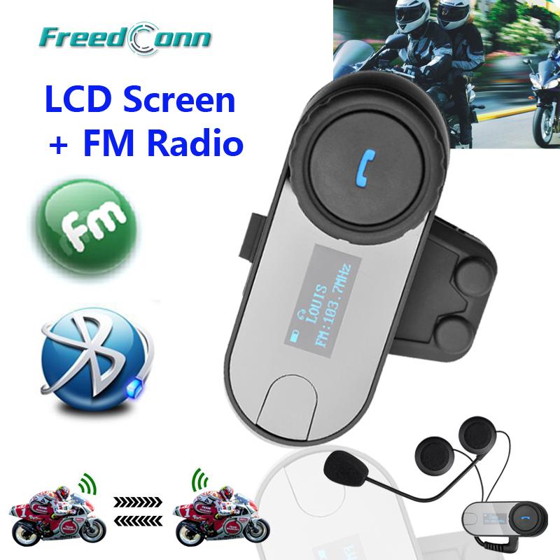2015 New Updated Version!!Motorcycle Motorbike BT Bluetooth Multi Interphone Headset Helmet Intercom with LCD screen + FM Radio