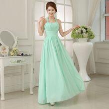 Вечерние шифоновые платья мятно-зеленого цвета для подружки невесты, Длинные деловые платья цвета шампанского, платья для выпускного вечер...(Китай)