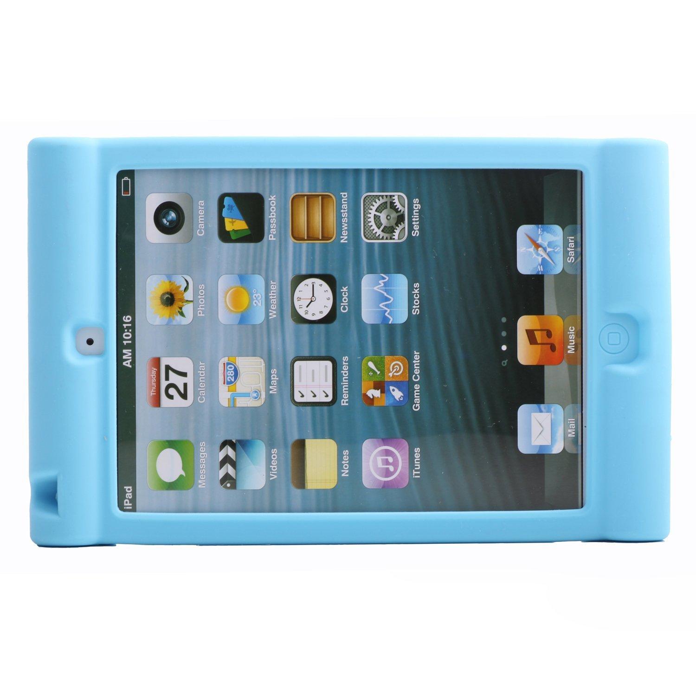 [SCIMIN] iPad mini Handle Case, iPad mini 2 Cover, iPad mini 3 Shockproof Case, Silicon Skin Cover Impact Resistance Drop Proof Soft Case Kids Friendly for iPad mini, iPad mini 2, iPad mini 3 (Blue)