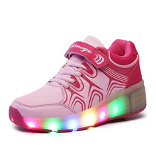 LED Light heelys roller shoes for girls wheelys Children Roller Skate Shoes Kids shoes Sneakers With
