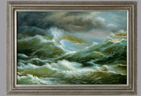 3586 Antique frame with Handmade Seascape Oil Painting on Canvas