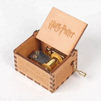 Harry potter theme wooden music box hand crank movements