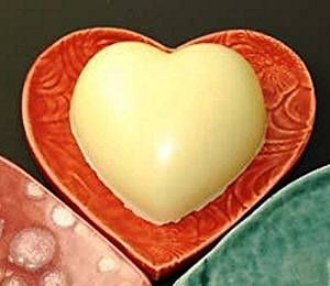 Heart Shaped Scented Solid Hand Lotion on Handmade Ceramic Heart Dish by Bella Esse Naturals, Made in the USA (Lemongrass)