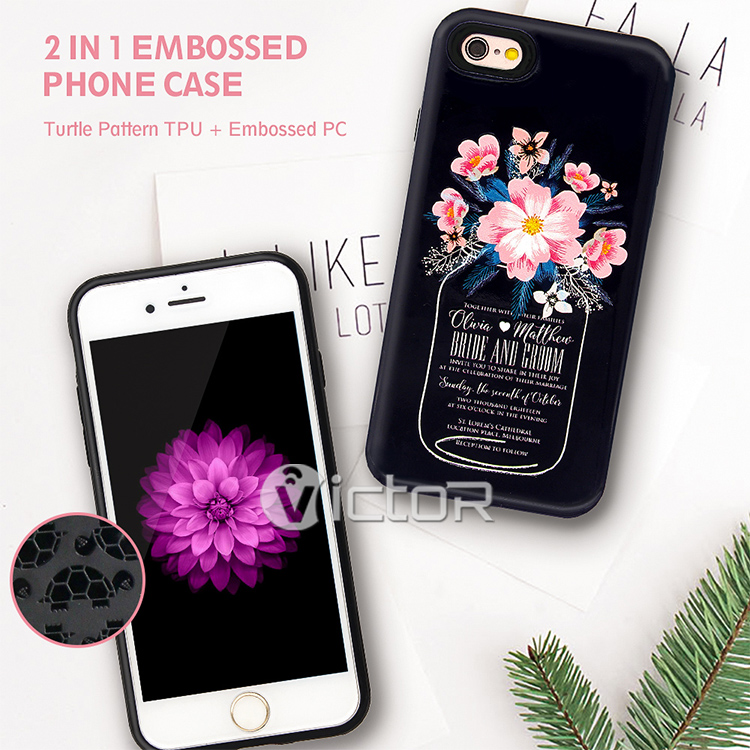 Hot Guangzhou Shockproof 3D 2 in 1 Custom UV Printing Rubber Turtle TPU Embossed PC Combo Mobile Phone Case for iPhone 7 Funda