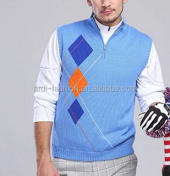 9743eaf5b 2015 1 4 Zip Argyle Knitting Pattern Mens Sleeveless Golf Jumper ...