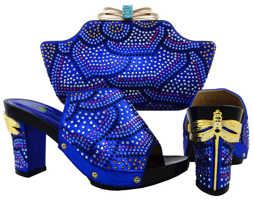 Royal Blue Crystal Italian Leather Shoes And Matching Bags 33845d068b20