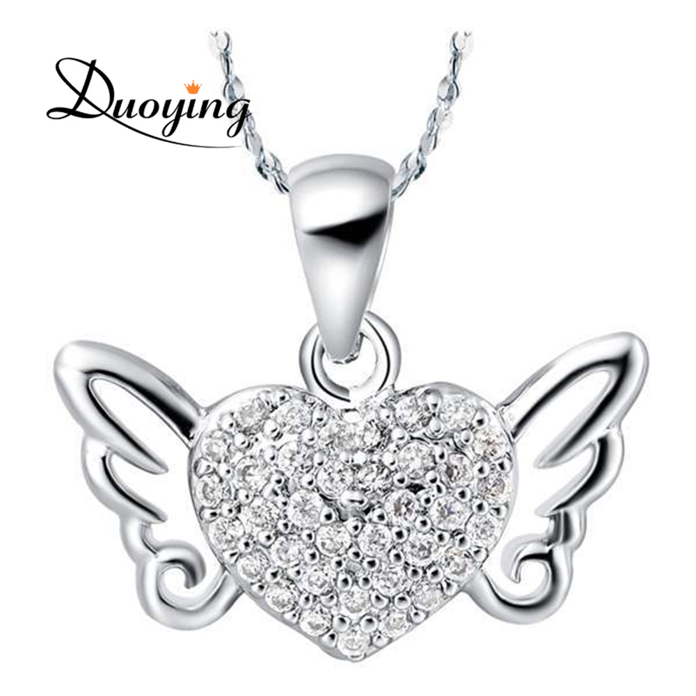 Bulk Stock Cheap Best Gift Girl European Fashion Copper Jewelry Lover Angel Wing Heart Necklace with Full Rhinestones
