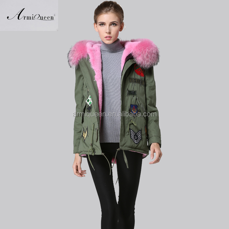 Alibaba.com / Domier Fashionable Pink Fur Waistcoat,Faux Fur Lined Women's Pink Army Parka