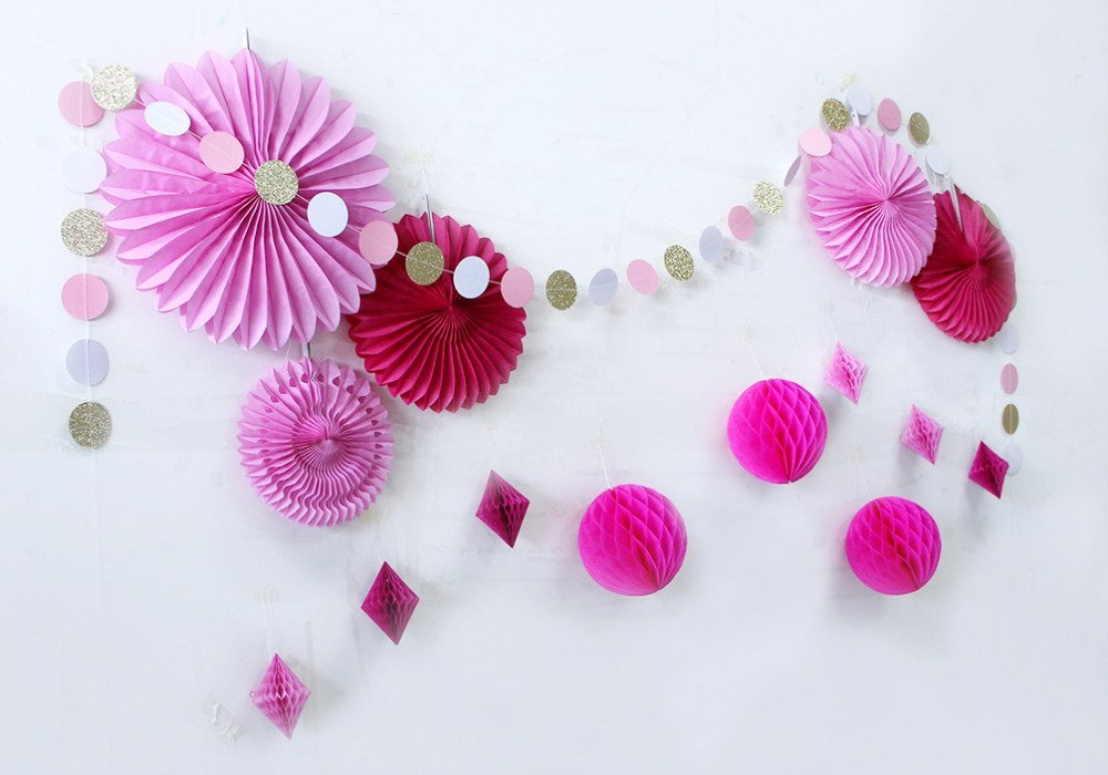 Set of 15 Blue (Pink) Star Paper Garland Honeycomb Balls Tissue Paper Fans for Birthday Baby Shower Bridal Shower New Year Decor (Pink)