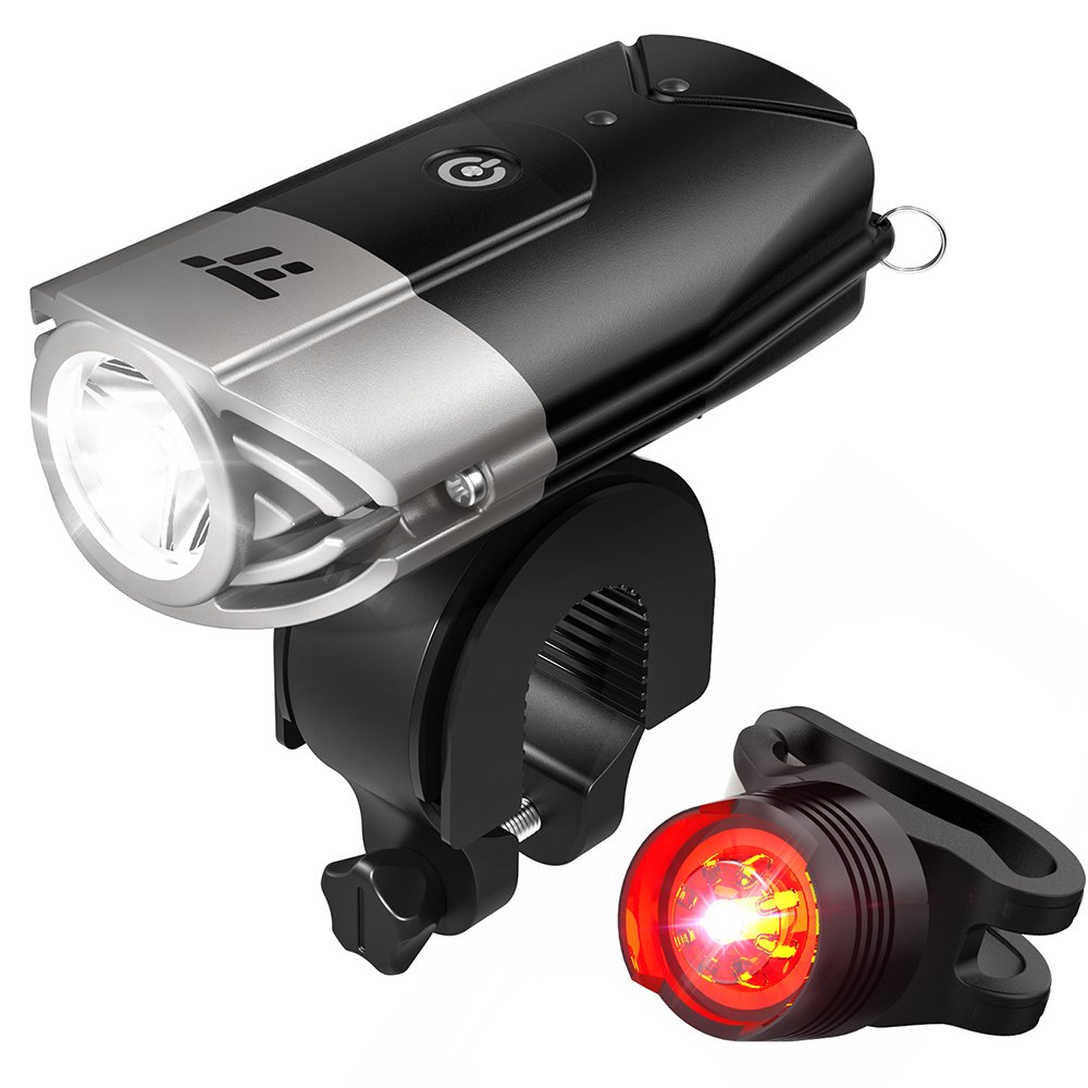 TaoTronics TT-HP007 LED Bike Lights Front & Back, 700 Lumens Bicycle Lights, Rechargeable Bike Light Set, Bike Headlight, IP65 Waterproof, Cree LED, Free Tail Light & Helmet Mount include