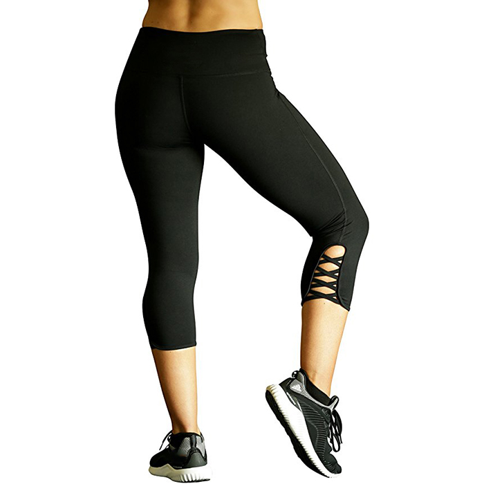 Nice design modern strappy womens workout leggings with hidden pocket